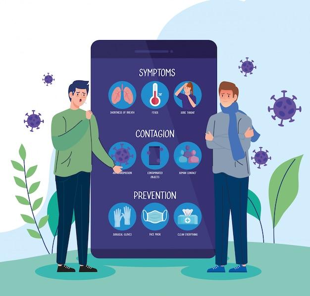 Smartphone com ícones covid19 e pessoas doentes