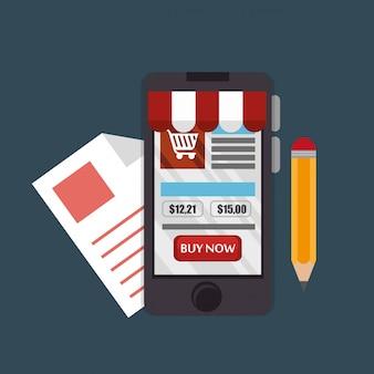 Smartphone com ícones de comércio eletrônico