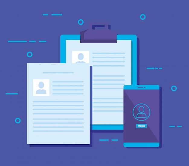 Smartphone com ícones de marketing de mídia social