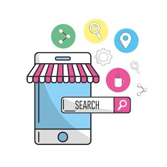 Smartphone com ícones de tecnologia de pesquisa