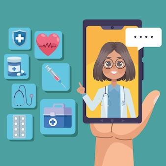 Smartphone com ícones de telemedicina
