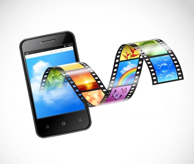 Smartphone com ilustração de streaming de vídeo