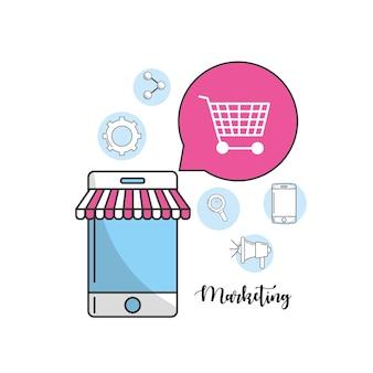 Smartphone com informações de ícones de marketing