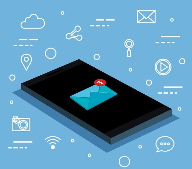 Smartphone com informações de notificação de conexão de mensagens de mensagens