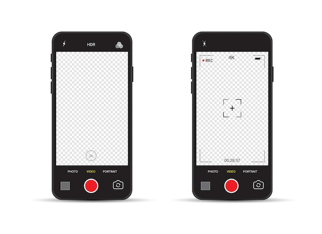 Smartphone com interface de câmera do visor da câmera. gravação de vídeo.