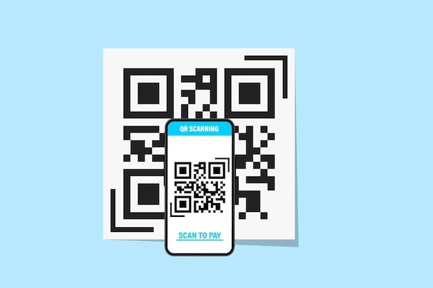 Smartphone com leitor de código qr. leitor de código qr. digitalização de código qr, código de barras no celular - pagamento sem contato do conceito. pode usar para, página de destino, modelo, interface do usuário, web, aplicativo móvel, banner, folheto