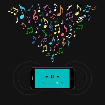 Smartphone com leitor de música e notas coloridas.
