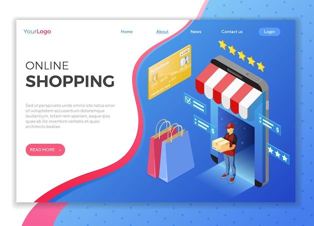Smartphone com loja online, entrega, correio. compras na internet e conceito de entrega on-line. ícones isométricos. modelo de página de destino.