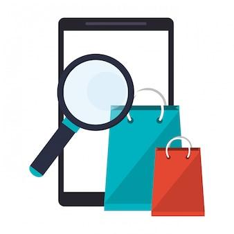 Smartphone com lupa e sacolas de compras