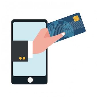 Smartphone com mão de empresário segurando o cartão de crédito