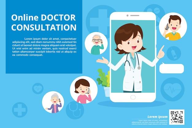Smartphone com médico de plantão segurando remédios. conceito de consulta médica online