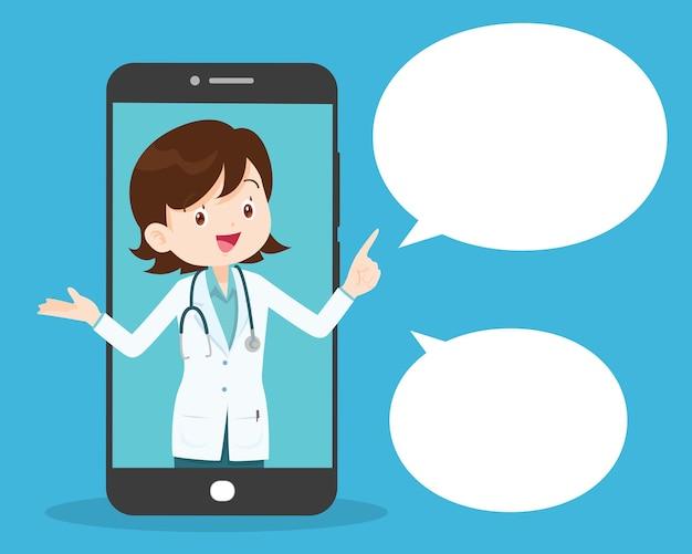 Smartphone com médico de plantão segurando remédios