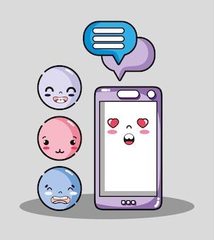 Smartphone com mensagem de bolha de bate-papo e emoji