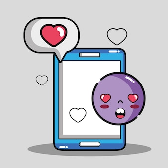 Smartphone com mensagem de emoji de bolha de bate-papo