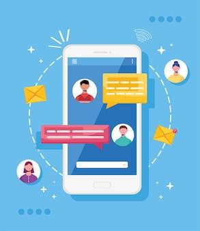 Smartphone com mensagens de bate-papo