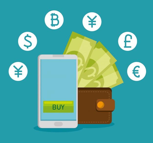 Smartphone com moeda financeira de câmbio virtual