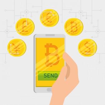 Smartphone com moeda virtual bitcoin