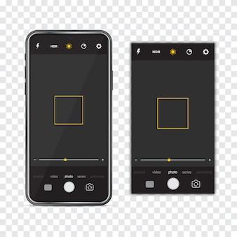 Smartphone com moldura de interface de câmera