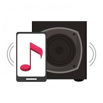 Smartphone com música e alto-falante