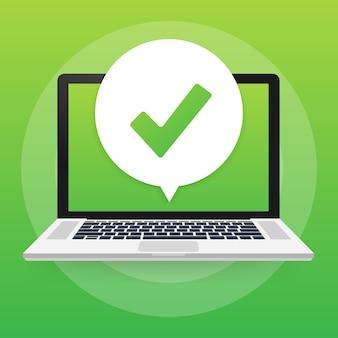 Smartphone com notificação de marca de seleção ou carrapato na bolha. escolha aprovada. aceitar ou aprovar a marca de seleção