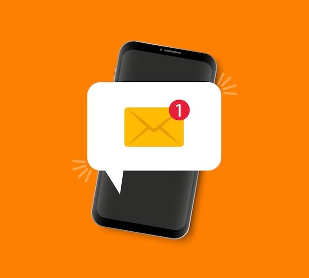 Smartphone com notificação de notificação de mensagem na mensagem