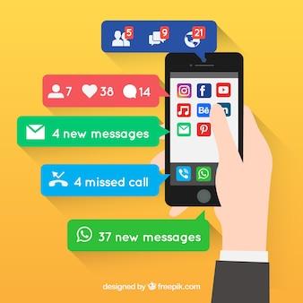 Smartphone com notificações diferentes