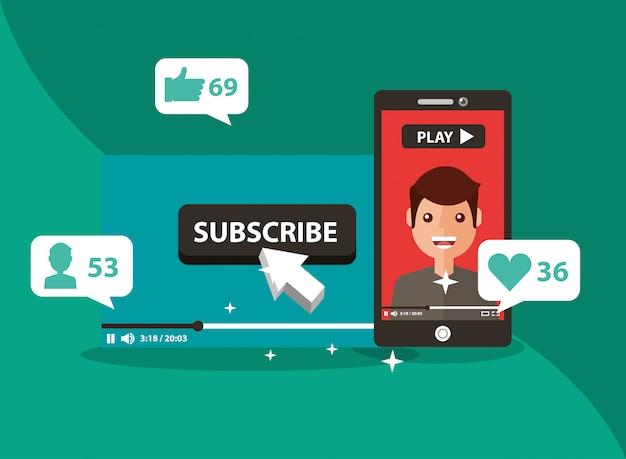 Smartphone com o homem na tela se inscrever canal popular