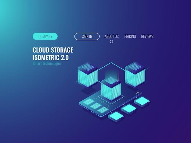 Smartphone com o ícone do banco de dados, baixar arquivos do servidor de nuvem