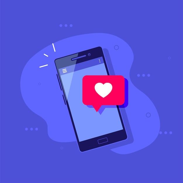 Smartphone com o símbolo like conceito de mídia social