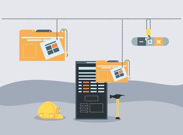 Smartphone com página da web em construção