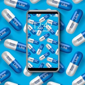 Smartphone com papel de parede colorido, do conceito de dependência de mídia social