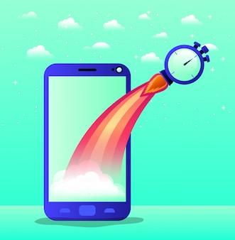 Smartphone com partida de foguete e cronômetro