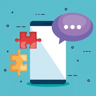 Smartphone com peças de quebra-cabeça e bolha do discurso