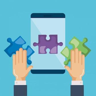Smartphone com peças de quebra-cabeça e mãos