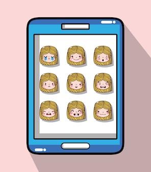 Smartphone com rosto de emoção de cabeça de menina
