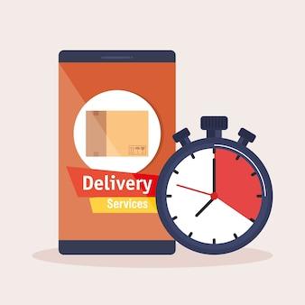 Smartphone com serviço de entrega de aplicativos