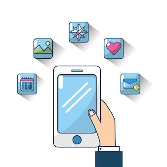 Smartphone com servidor de conexão de tela sensível ao toque de mão