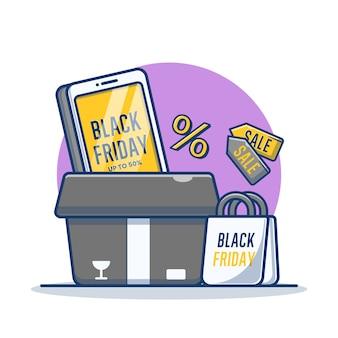 Smartphone com sexta-feira preta na tela e ilustração dos desenhos animados da sacola de compras