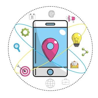 Smartphone com símbolo de ubication e ícone de tecnologia
