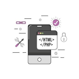 Smartphone com software de programação de código da web