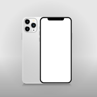 Smartphone com tela branca em branco.
