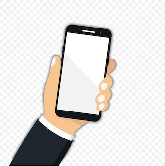 Smartphone com tela de toque em uma mão. mão segurando um celular preto com tela branca