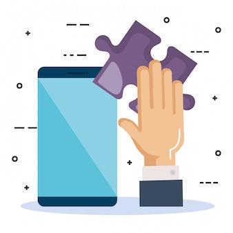 Smartphone com trabalho em equipe