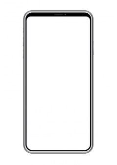 Smartphone com uma tela vazia isolada no fundo branco, ilustração do vetor.