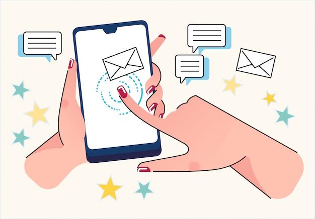 Smartphone comunicação mídias sociais conceituais