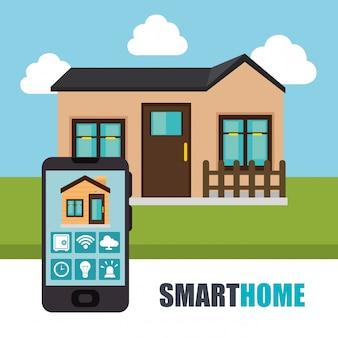 Smartphone controlando a casa inteligente