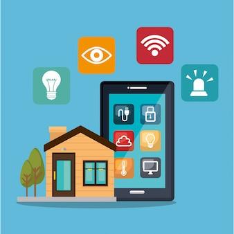 Smartphone controlando casa inteligente