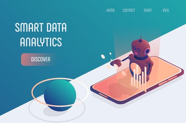 Smartphone de análise de dados inteligente isométrico
