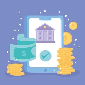 Smartphone de banco online