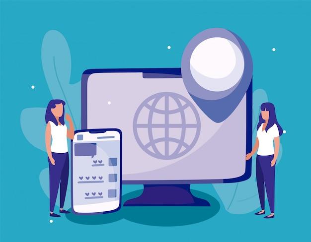 Smartphone de computador e mulheres do conceito de mídia social